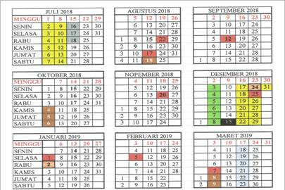 Kalender Pendidikan Terbaru Tahun Pelajaran 2018/2019 untuk 7 Provinsi