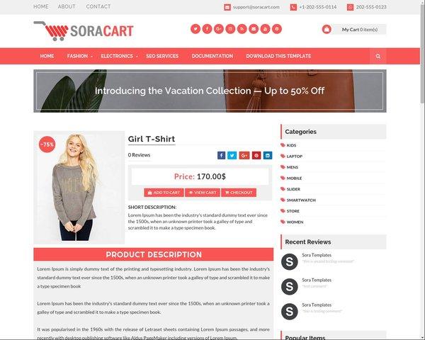 SoraCart eCommerce Blogger Template - Template Forest