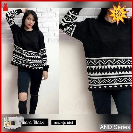 AND053 Sweater Wanita Sahara Hitam Rajut BMGShop