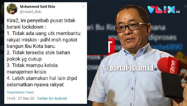 Said Didu : Empat Penyebab Jokowi Tidak berani Lockdown