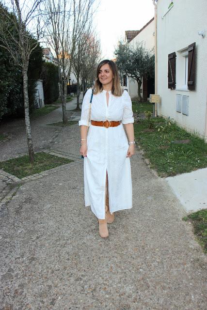 Robe blanche sezane, bottes vanessa Wu, look du jour, les petites bulles de ma vie