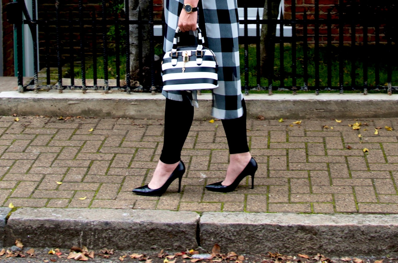 LK Bennett Black Heels, Aldo Striped Bag and Matalan Checked Dress
