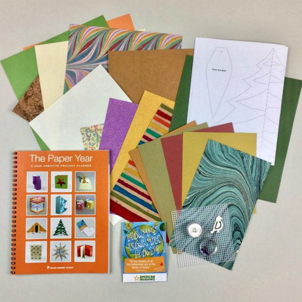 optional specialty papers and supplies accompany The Paper Year, a how-to papercraft book