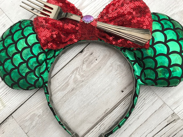 Wearable Mickey ears with a mermaid theme