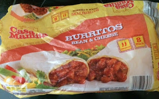 An opened package of Casa Mamita Bean and Cheese Burritos, from Aldi
