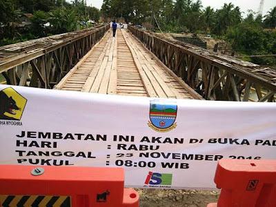 Jembatan bailey Ciputrapinggan mulai dibuka Rabu (23/11/2016).