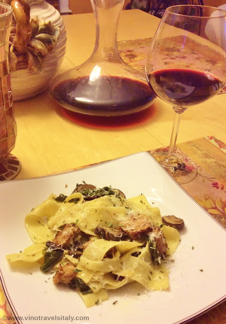 Pappardelle alla Norcina with Sagrantino