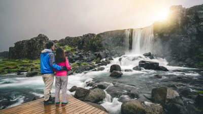 Iceland day tours of the Golden Circle Oxarfoss in Thingvellir