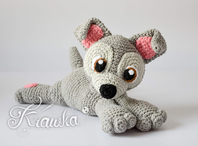 Krawka: Grey puppy dog crochet amigurumi pattern by Krawka