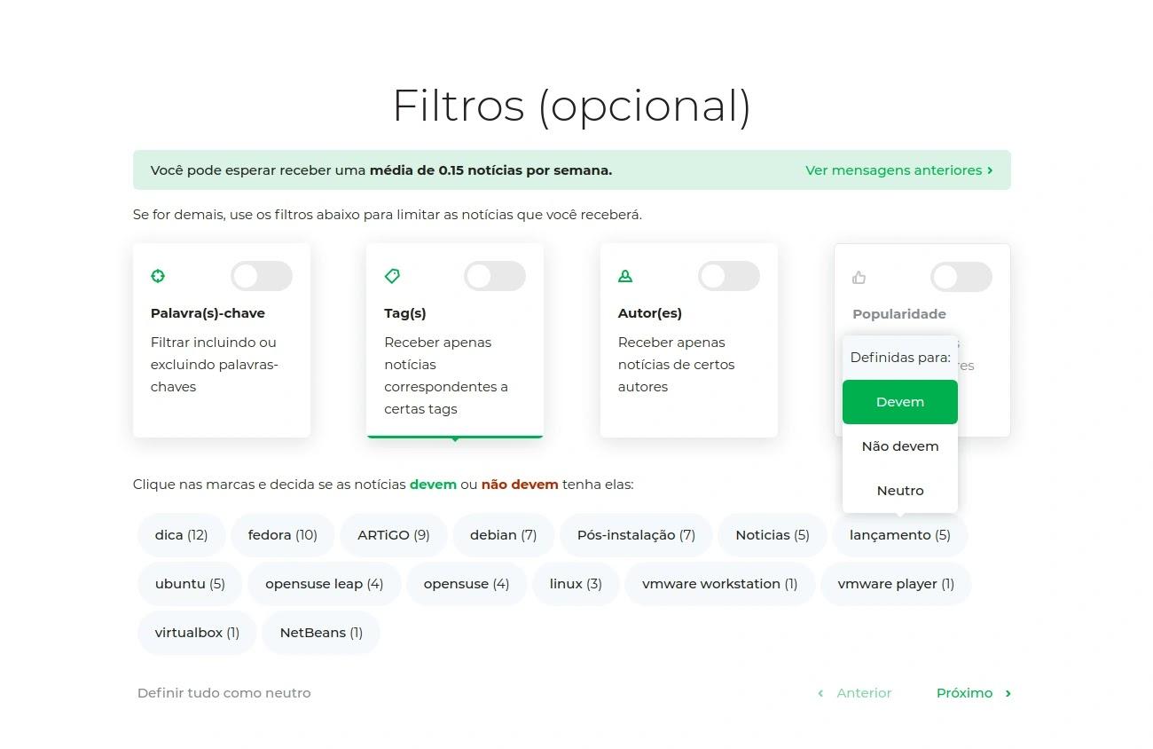 Filtros do follow.it