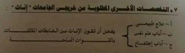 قبول دفعة جديده من البنات(الاناث) فى اللاكاديمية الحربيه للعام 2017 - التخصصات المطلوبه