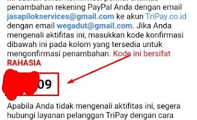 Kode Verifikasi Email Utama Paypal