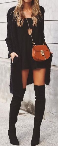 Womens Fashion Cut Out Little Black Dress Black Cardigan And
