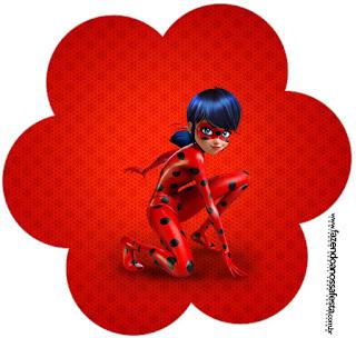 Toppers o Etiquetas de Fiesta de Prodigiosa Ladybug.