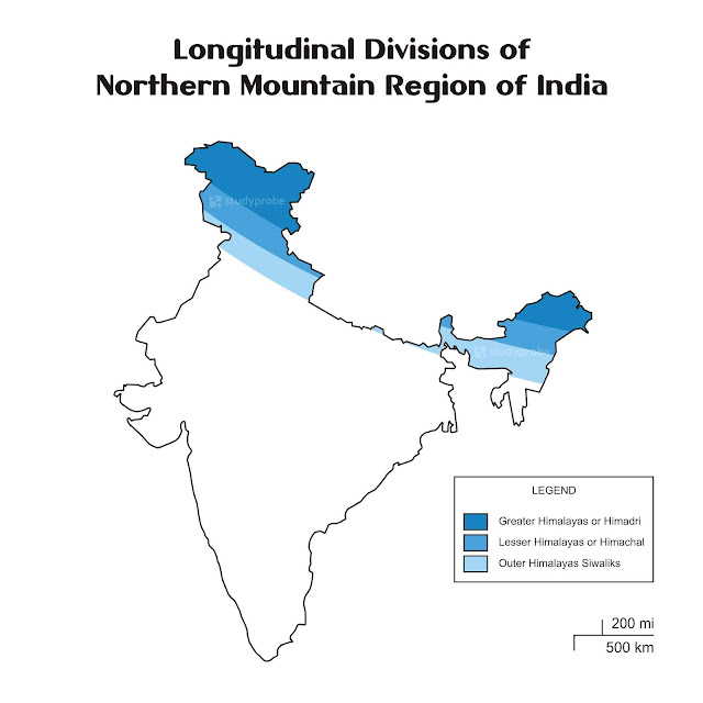 Longitudinal Divisions of Northern Mountains of India