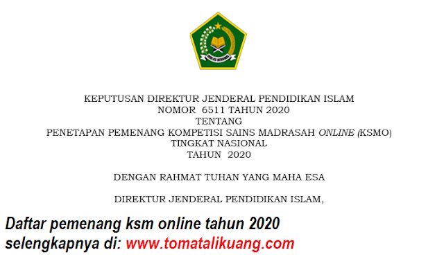 sk daftar pemenang juara ksmo ksm online kemenag mi mts ma tahun 2020 pdf tomatalikuang.com