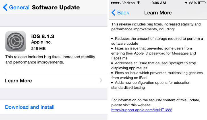 Apple iOS 8.1.3 Update