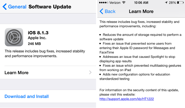 Apple iOS 8.1.3 Update