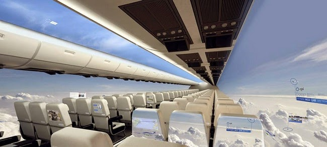 windowless airplane, futuristic airplane