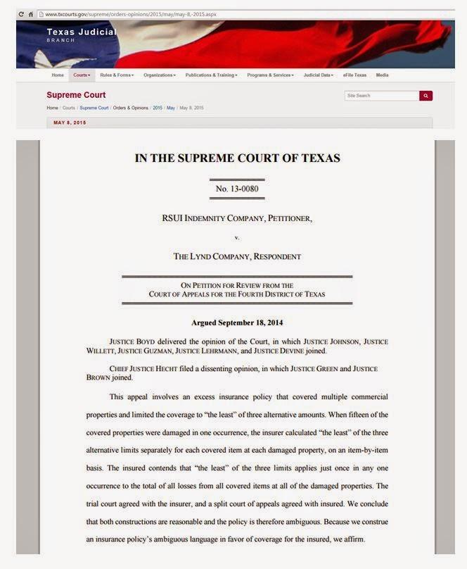 Coa Tx Interpretation Of Insurance Policies Contract Construction Tex 2015