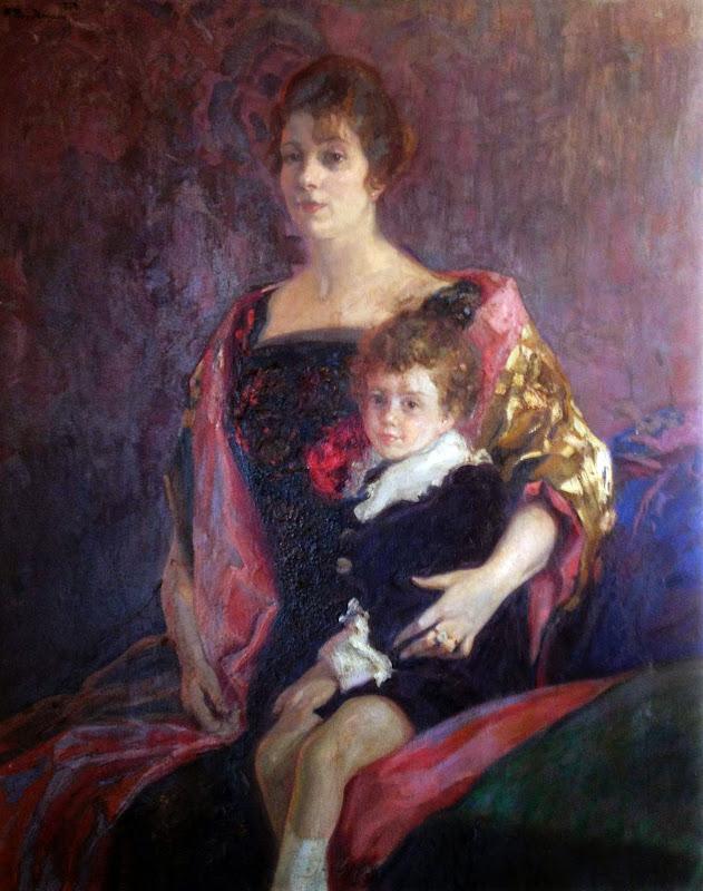 Retrato de dama con niño, Francisco Pons Arnau, Pintor español, Pintor Valenciano, Pintura Valenciana, Impresionismo Valenciano, Pintor Pons Arnau, Retratos de Pons Arnau
