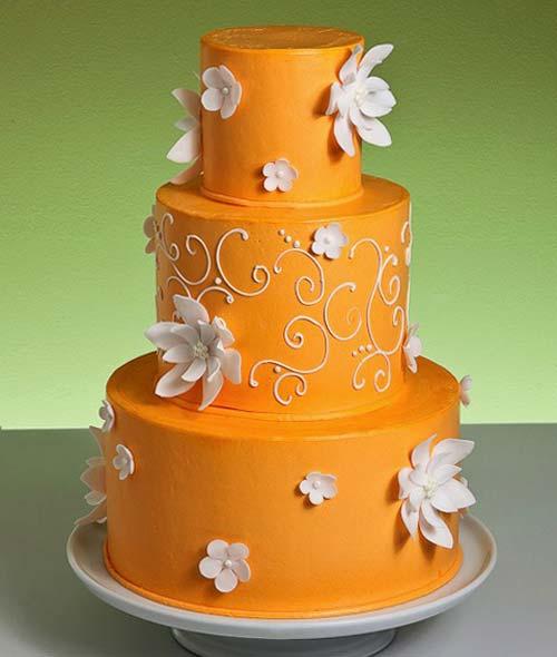 Orange Wedding Cakes With Accesories:Wedding
