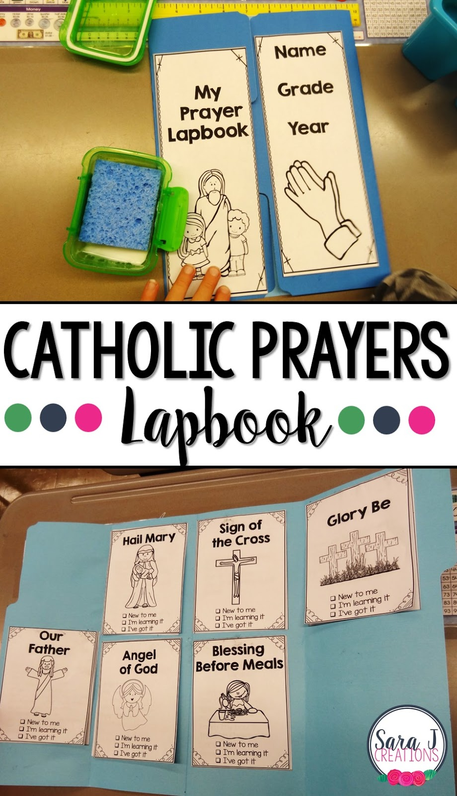 Catholic Prayers Lapbook is great for helping kids to pray and and memorize prayers.