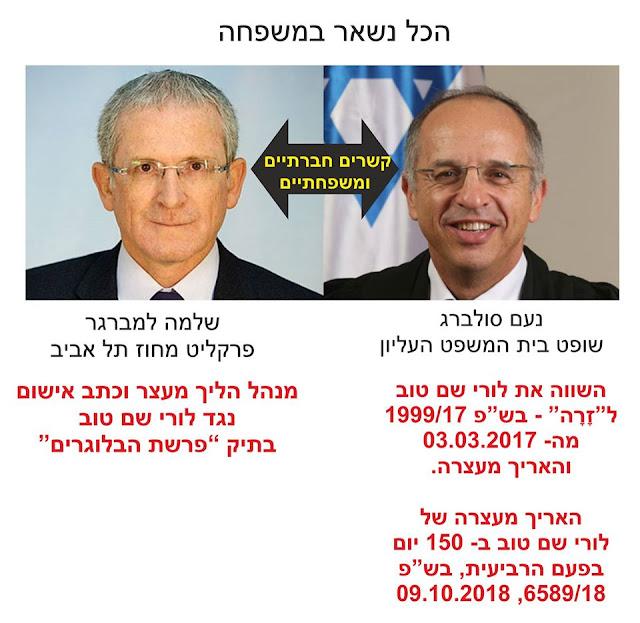 שופט העליון נעם סולברג ופרקליט מחוזי תל אביב שלמה למברגר בקרים משפחתיים חברתיים