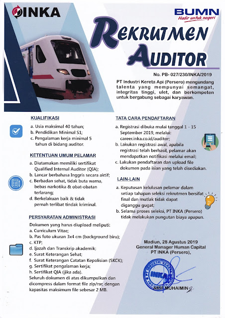 Lowongan Kerja BUMN PT Industri Kereta Api (Persero) September 2019