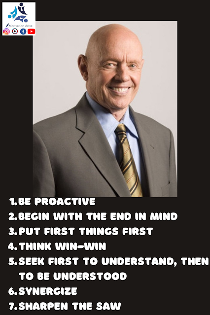 The 7 Habits of Highly Effective People Be Proactive Begin with the End in Mind Put First Things First Think Win-Win Seek First to Understand, Then to Be Understood Synergize Sharpen the Saw