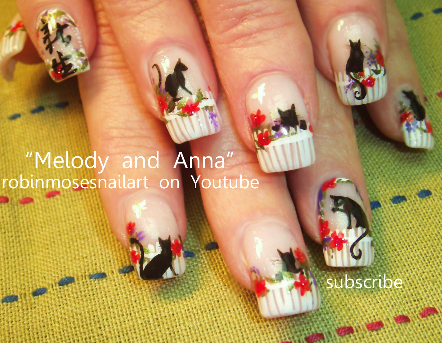 Nail Art by Robin Moses: cat nails, cat garden, kitty nails, kitten ...