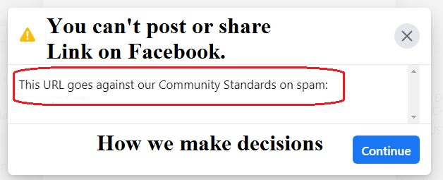 Why your can't share your are website/blog URL on Facebook