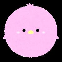 パステルカラーの鳥のイラスト(ピンク)