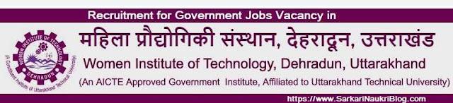 WIT Dehradun Vacancy Recruitment