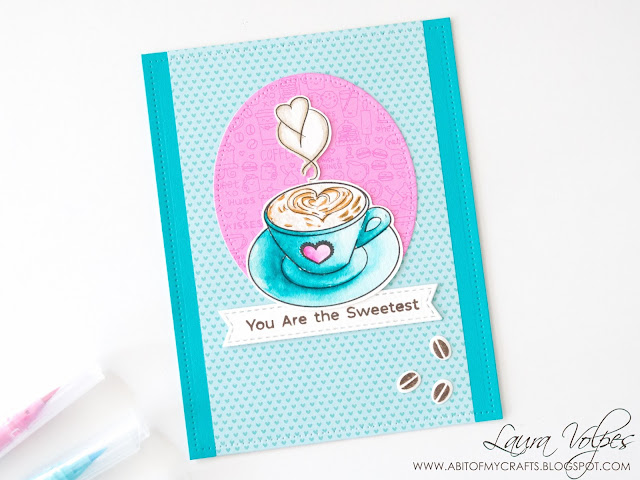 Card with Doodlebug Cream and Sugar paper and Coffee cup
