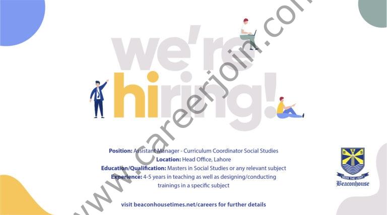 Beaconhouse Group Jobs Assistant Manager Curriculum Coordinator Social Studies