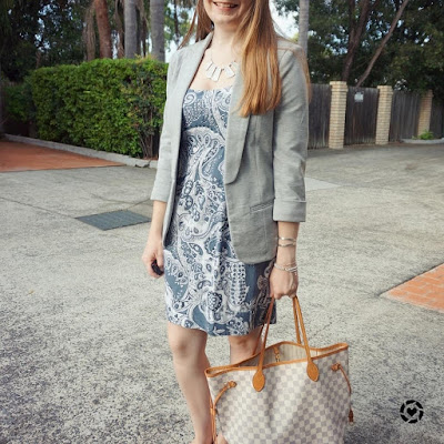 awayfromblue instagram grey blazer, blue paisley print dress and LV neverfull damier azur mm