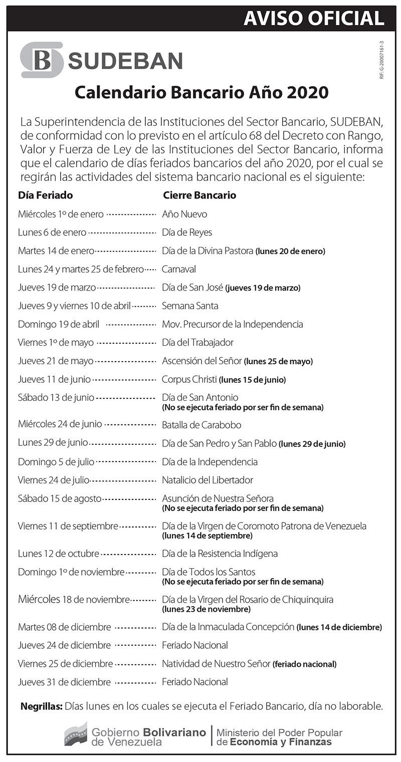 Lunes Bancarios 2020 Venezuela