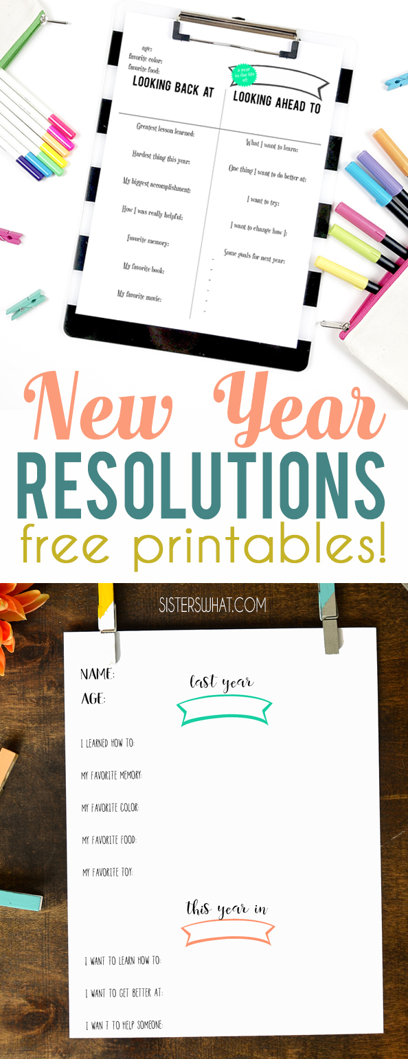 new year resolution ideas and free printable journal keeping