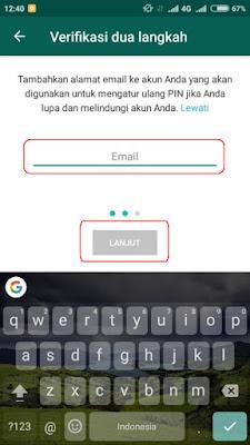 Masukan Email Verifikasi Dua Langkah