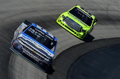 Brandon Jones (#99 Roland Chevrolet) & Matt Crafton (#88 IdealDoor/Menards Toyota)   practice for the NASCAR Camping World Truck Series Bar Harbor 200