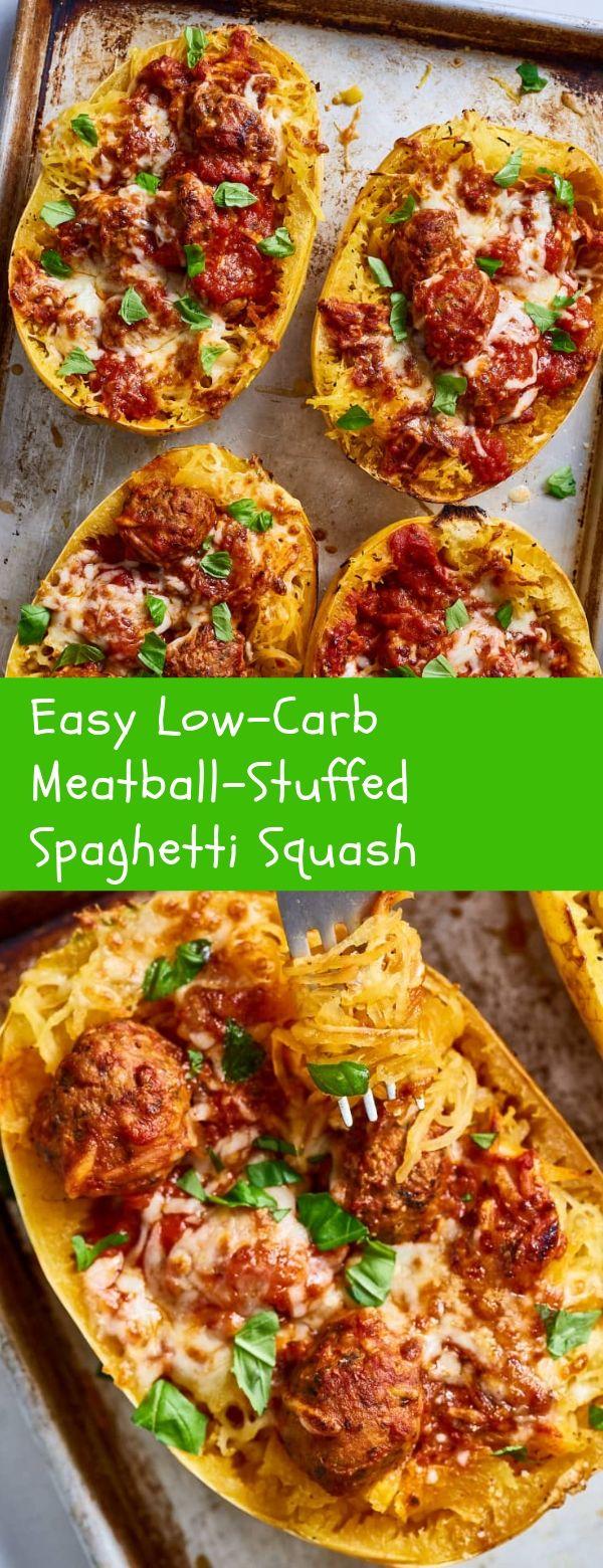 Easy Low-Carb Meatball-Stuffed Spaghetti Squash #easy #lowcarb #spaghetti