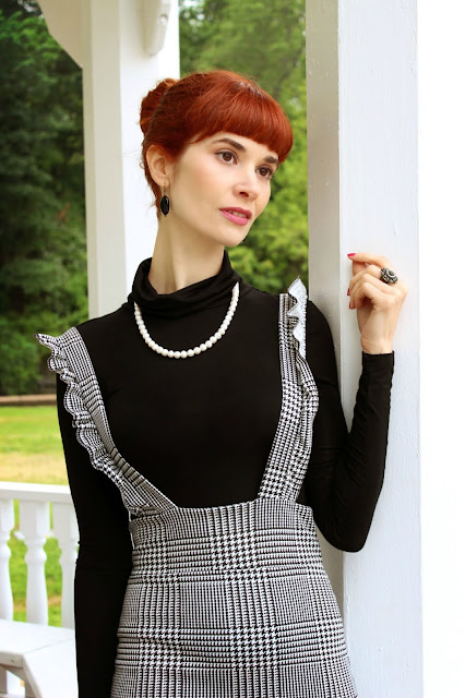 FemmeLuxe Finery Black and White Check Pinafore Dress- Sophie Pencil Skirt Mod