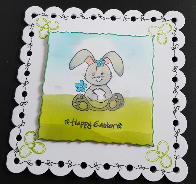 Happy Easter bunny ornate card - hand stamped and coloured