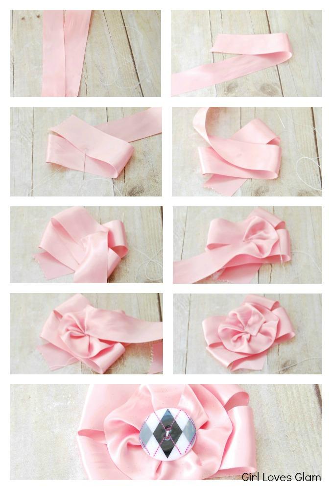 DIY Romantic Rose Headband | Artfully Wed Wedding Blog |How To Make Handmade Flowers From Ribbon Step By Step