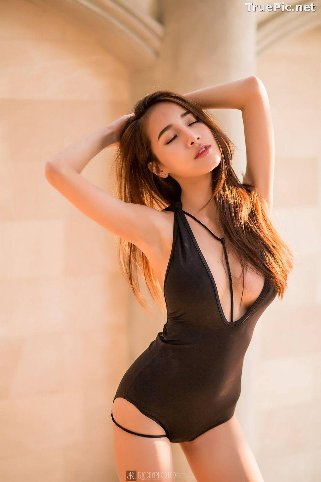 Image Thailand Model - Pichana Yoosuk - Black One Piece Swimsuit - TruePic.net - Picture-7