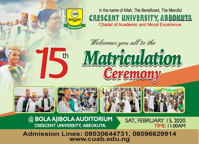 CUAB 15th Matriculation Ceremony Schedule 2019/2020