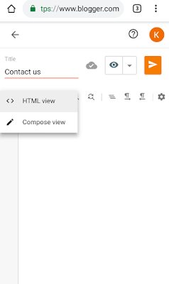 Creating a blank contact us page