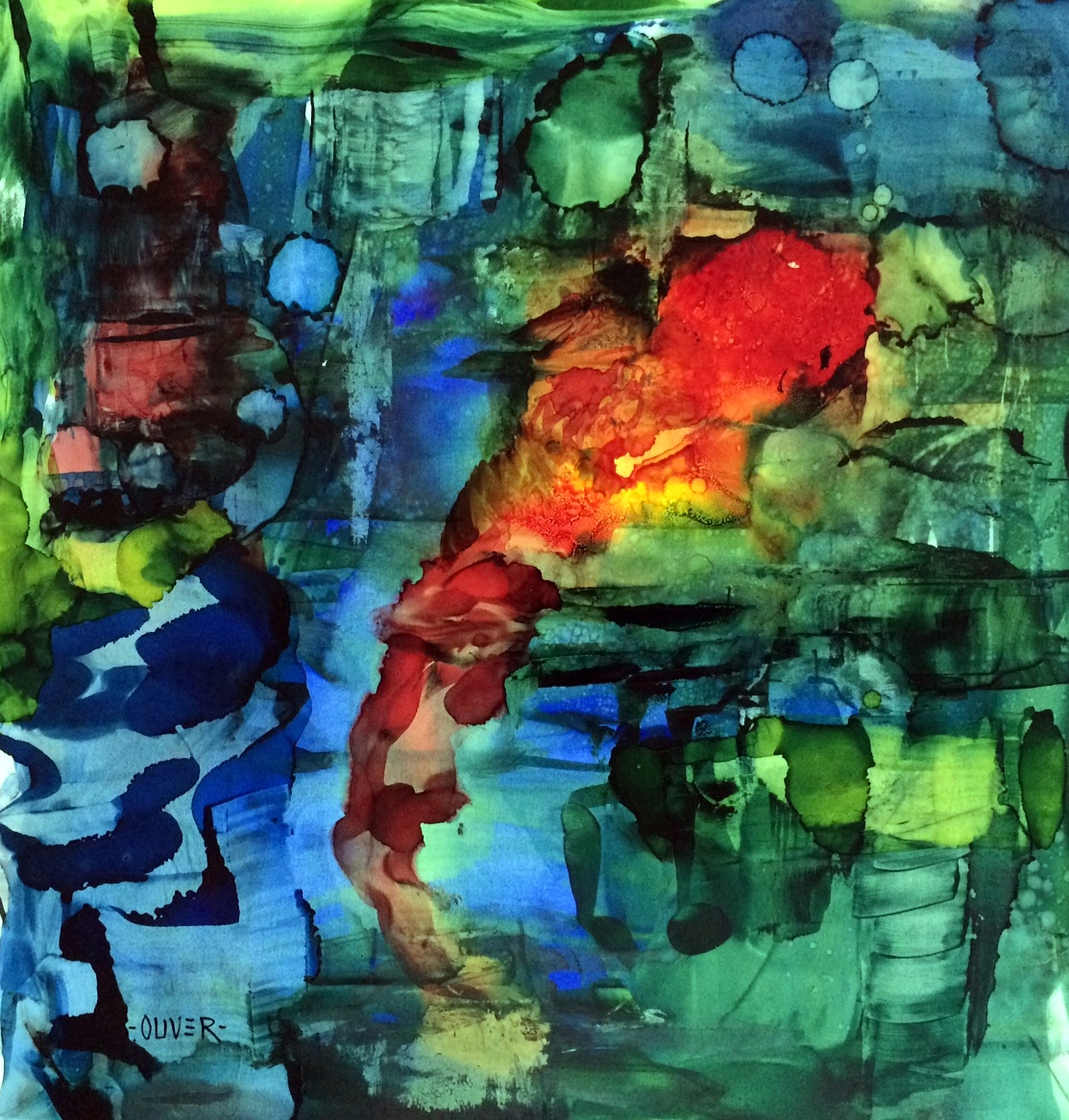 Art talk julie ford oliver my first alcohol ink for Painting while drinking wine