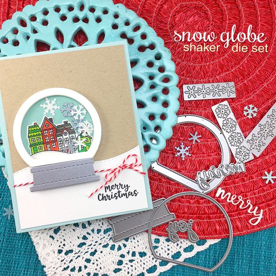 Snow Globe Christmas Cards by Jennifer Jackson | Snow Globe Scenes Stamp Set  and Snow Globe Shaker Die Set by Newton's Nook Designs #newtonsnook